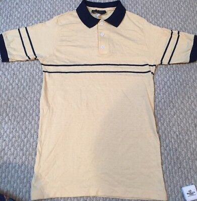 8430d499a Vintage 80s Lord and Taylor Mens Youth Polo SS Shirt Sm Med Yellow Blue  Stripe