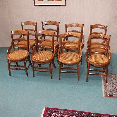 Antique Solid Walnut Italianate Eastlake Victorian Set OF 8 Chairs Caned Seats
