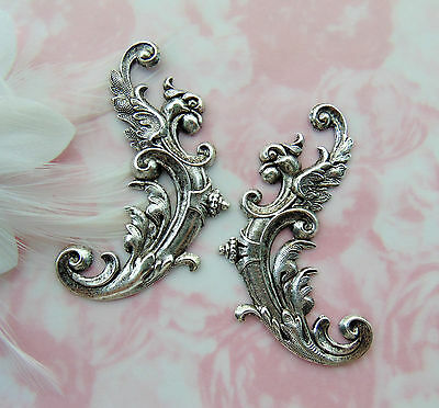 ANTIQUE SILVER (2 Piece) Medieval Bird Flourish Stamping Falcon Oxidized FB-6089