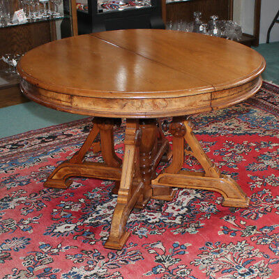 Antique Solid Walnut Italianate Eastlake Victorian Dining Table 4 Leaves
