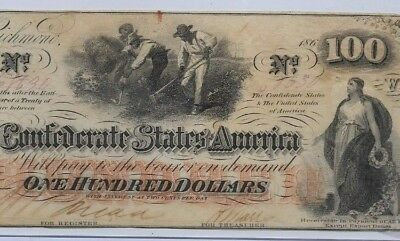 "$100(Rare) ""slaves Hoeing""(Confederate Note) 1800's ""csa ""slaves Hoeing"" Crispy!"