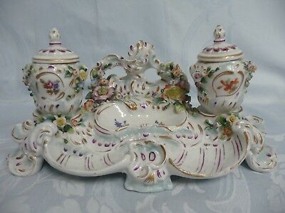 ROYAL VIENNA PORCELAIN DOUBLE INKWELL w/HAND PAINTED FLOWERS, BEEHIVE MARK