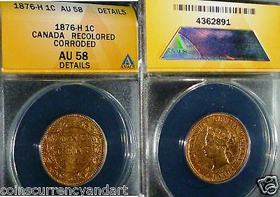 1876-H Canada One Cent  Anacs Au58