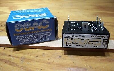 SSAC Time Delay Relay Module TSB224, Delay on Break, 5-600 Seconds, 24VAC