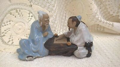 Vintage Pair Of Chinese Mudmen Playing Board Game Figurine