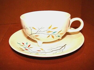 Rare Antique Salem China Southwind Footed Cup With Saucer Free Form Tree Branch