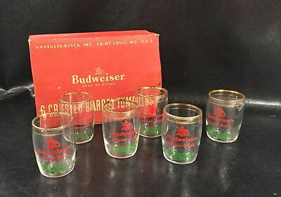 6 Vintage BUDWEISER HOLIDAY Barrel Tumblers And Original Box gold trim Crested