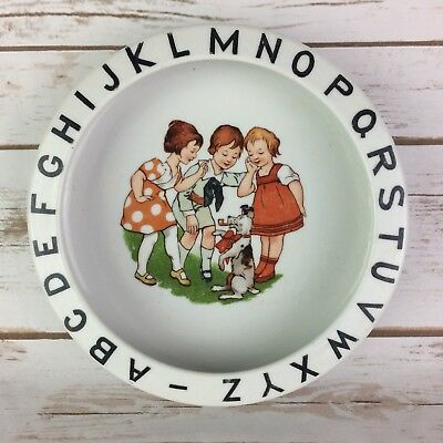 Vtg Child's ABC Alphabet Bowl Made in Germany 50 Children Dog Nursery Gift Decor