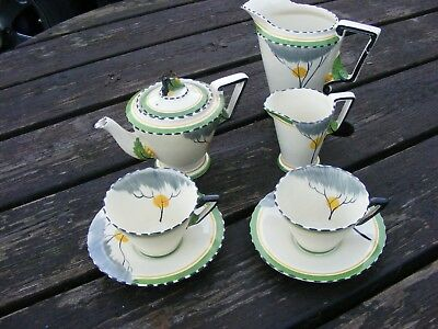 Burleigh Ware Art Deco Zenith Tea For Two Set And Large Jug Dawn Pattern