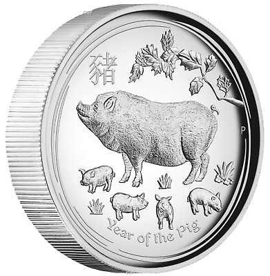 AUSTRALIAN 2019 Lunar Year of the PIG 1oz $1 Silver HIGH RELIEF COIN LAST SII