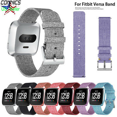 Replacement Woven Canvas Nylon Band Strap Wristband For Fitbit Versa Watch Xmas