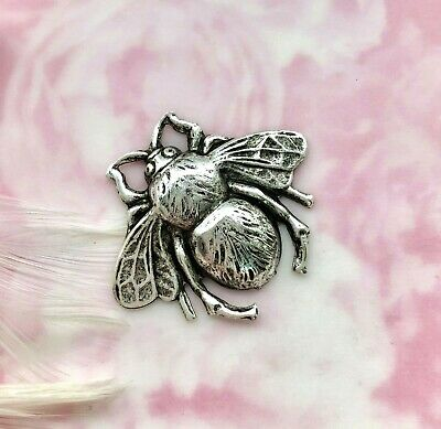 ANTIQUE SILVER (2 Pieces) Large BUMBLE BEE Stamping ~ Oxidized Finding (FA-6016)