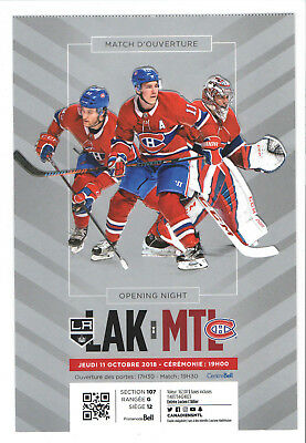 2018-19 MONTREAL CANADIENS NHL HOCKEY TICKET vs LA KINGS PRICE GALLAGHER Oct11