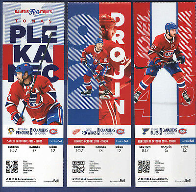 2018-19 MONTREAL CANADIENS NHL HOCKEY TICKET vs PENGUINS TOMAS PLEKANEC Oct13