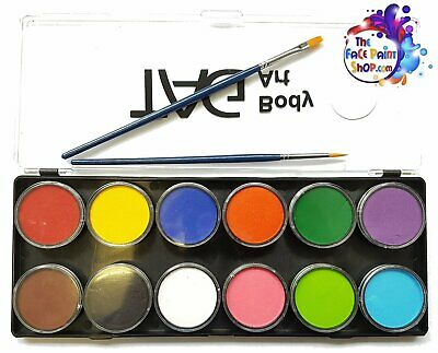 TAG Body Art Face Paint Palette - Regular 12 x 10g + Two FREE Brushes