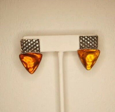 Lori Bonn Sterling Silver Baltic Amber Triangle Clip Earrings