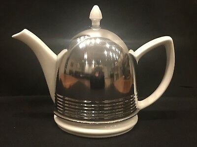 Vintage Hall China Teapot With Chrome Insulator Cover Cozy