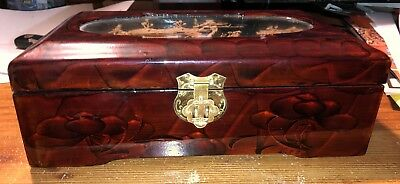 Vintage Asian Chinese Oriental Wooden Jade Possibly Jewelry Box Rare