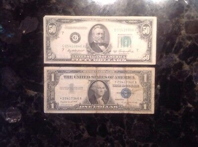 1950 A $50 FRN - Chicago  + 1957 A $1 Silver Certificate - STAR NOTE