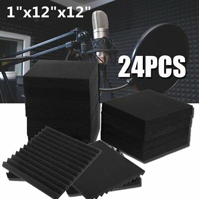 "24 Pack 1""x12""x12"" Acoustic Foam Tiles Panel Wedge Studio Soundproofing Wall EK"