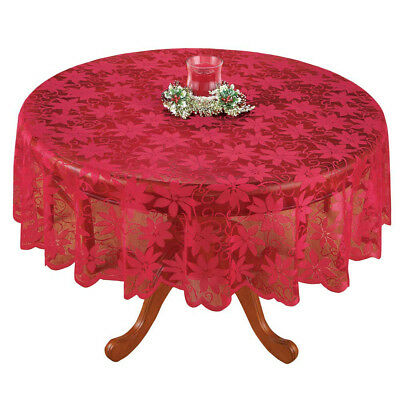 Red Vintage Lace Tablecloth Round Table Cloth Topper Valentines Day Decor 70inch