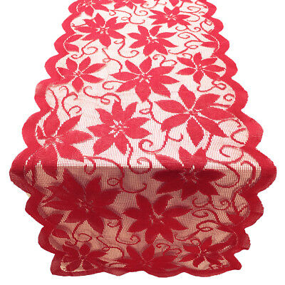Vintage Red Lace Table Runner Dresser Scarf Doily Valentines Day Decor 13x72inch