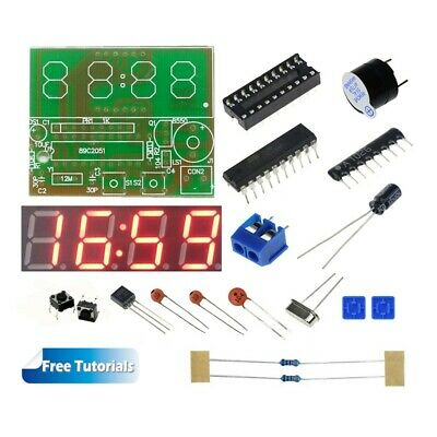 C51 4 Bits Digital LED Electronic Clock DIY Kit w/ Tutorials for School Lab Kids