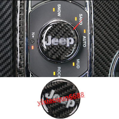 Fit For Jeep Grand Cherokee 2014-18 Real Carbon Fiber Inner Multimedia Knob Trim
