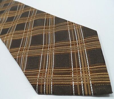 Hugo Boss Mens Tie Brown 100% Silk Tie | Striped Pattern Necktie Made in Italy