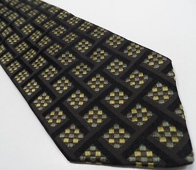 Hugo Boss Mens Tie Black 100% Silk Tie | Geometric Pattern Necktie Made in Italy