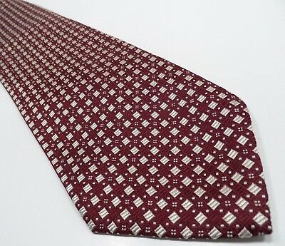 Hugo Boss Mens Tie Red 100% Silk Tie | Geometric Pattern Necktie Made in Italy