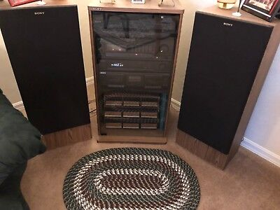 Sony Vintage Home Stereo Shelf System 400 Watts with wood floor speakers