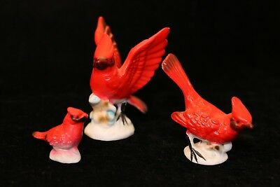 Vintage Miniature Hi Style Bone China Red Bird Cardinal Family Collectible Gift