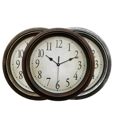 Large Vintage Silent Analogue Round Wall Clock Home Bedroom Kitchen Quartz 32cm