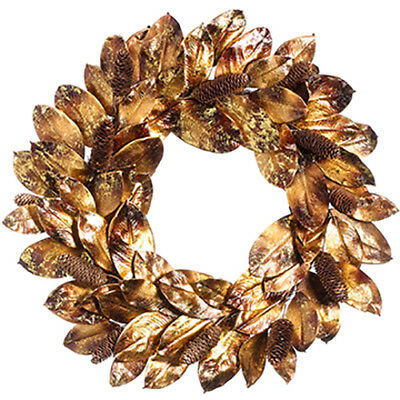 """28"""" Glittered Magnolia Leaf & Pinecone Artificial Hanging Wreath -Antique Gold ("""