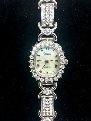 Xanadu Ladies Watch Mother of Pearl Dial Rhinestones Quartz New W/ Box