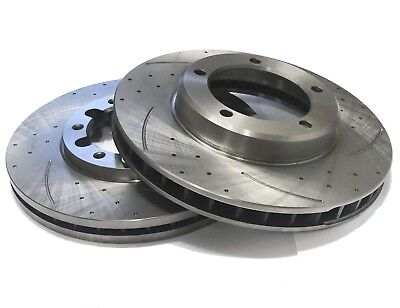 PAIR OF SLOTTED DIMPLED Rear 253mm BRAKE ROTORS D2811S x2 GOLF 06~14 1.4L