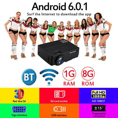 Excelvan 4K Wifi 7000LMs Android 6.0.1 Projector 1080P Media Home Cinema Theater