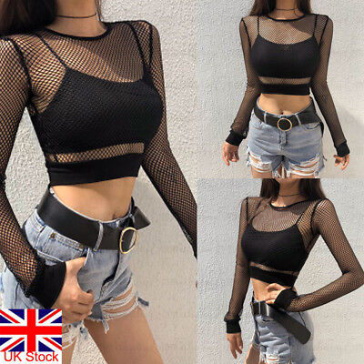 UK Women Girl Long Sleeve Perspective Mesh Fishnet Crop Bodysuit Top T-Shirt Set