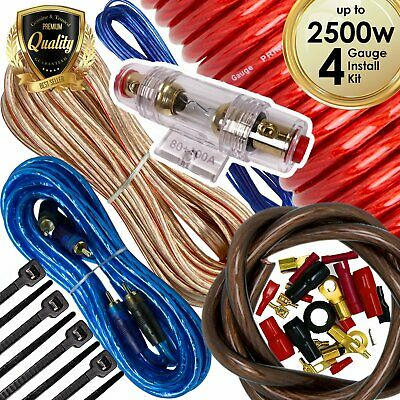 New Audiobank 4 Gauge 2500W Car Amplifier Installation Power Amp Wiring Kit Red
