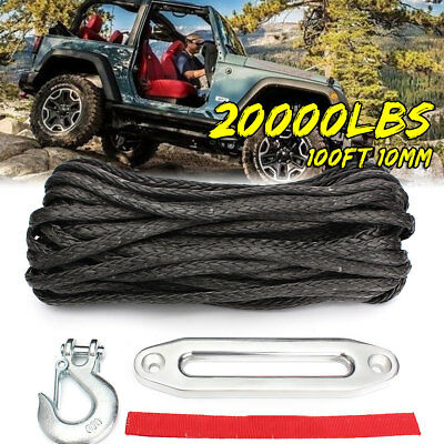 Synthetic Winch Rope Snap Hook & Hawse 100ft 10mm 10500KG Self Recovery 4x4 UK