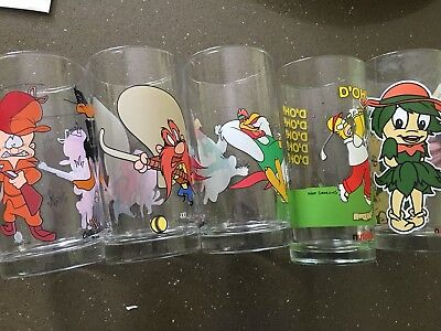 Collectable Looney Tunes Glasses X 5 Simpson Nutella Plus Bonus Simpson