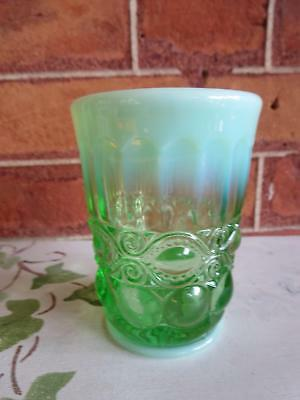"Mosser Glass Green Opalescent Eyewinker 3 3/4"" Tumbler"