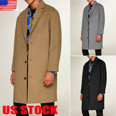 Mens Woolen Cashmere Double-breasted Lapel Collar Warm Long Coat Thick Overcoat