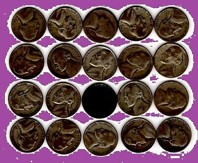 SILVER WAR NICKELS lot of 20 BELOW SPOT PRICE uncleaned, circulated