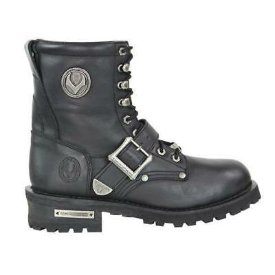 Genuine Leather Motorcycle Boots Inner Side Zip Mens Rage By Vulcan V-117