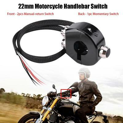 22mm Motorcycle Handlebar Momentary Latching Switch Reset Button Black 3 in 1 US