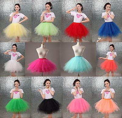 Girls Adult Tulle Skirt Fluffy Petticoat Women Tutu Dress Dance Ballet Costume