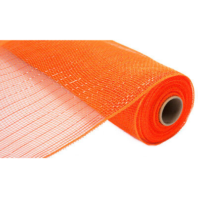 "Orange Metallic Deco Poly Mesh 21"" x 10 yards"