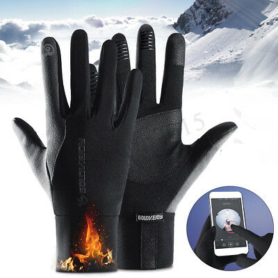 Mens Womens Full Finger Bike Gloves Waterproof Thermal Warm Touch Screen Mittens